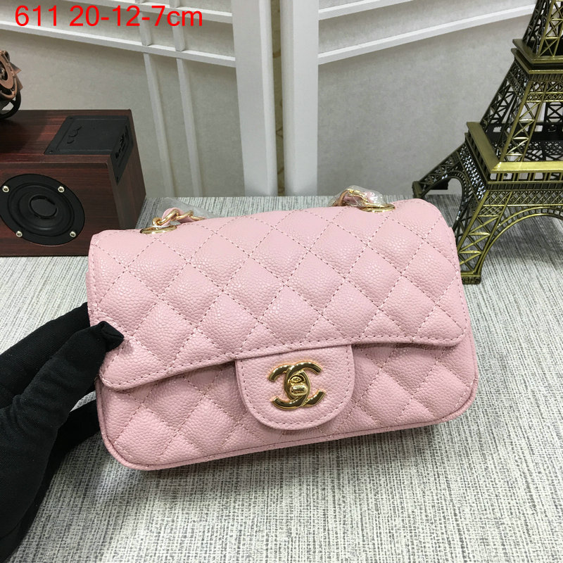 Chanel classic flap bag mini pink caviar with gold hardware