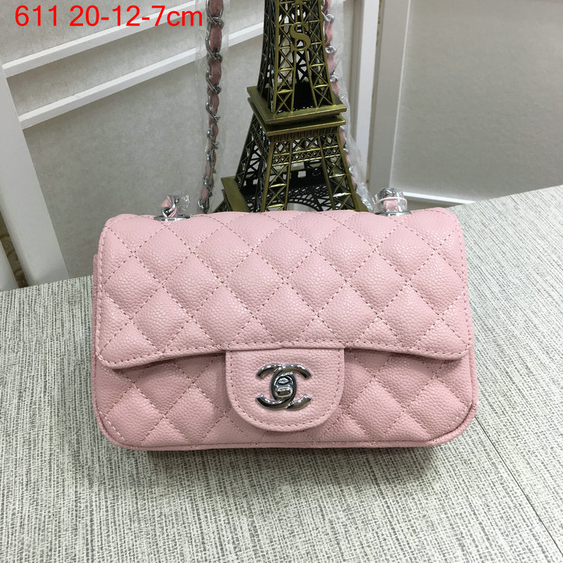 Chanel classic flap bag mini pink caviar with silver hardware