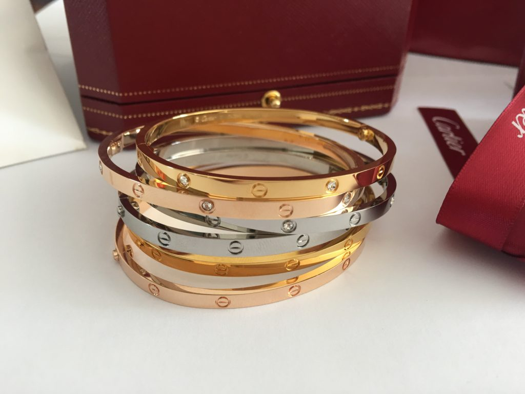 Cartier Love Bracelet Small 18k Yellow Gold, White Gold, Pink gold