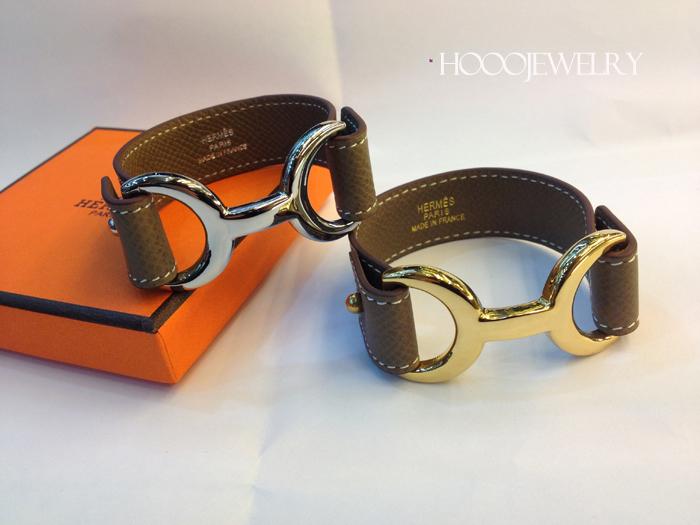 Hermes Pavane Grey Chamonix calfskin Leather bracelet with gold & silver plated