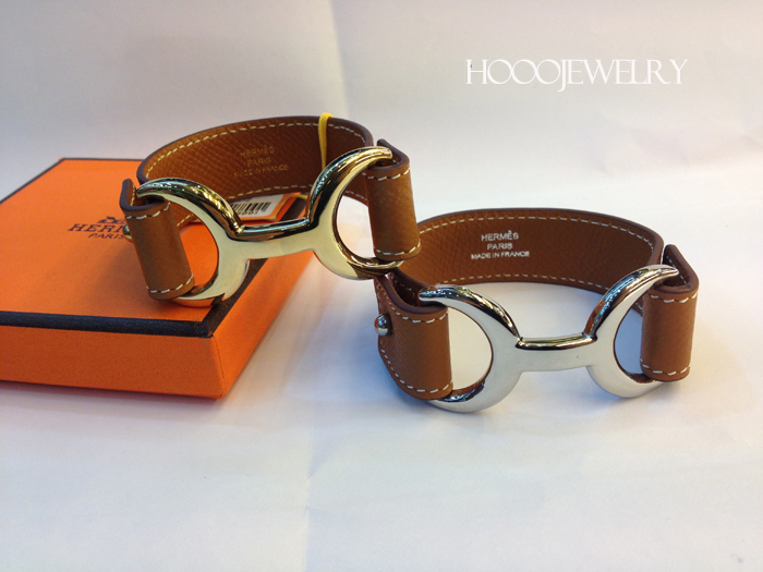 Hermes Pavane Coffee Leather bracelet with gold & silver plated