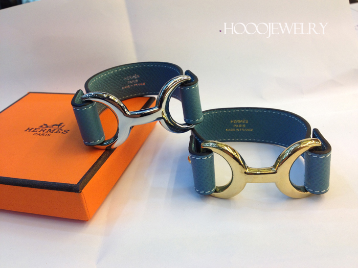 Hermes Pavane Blue bracelet with gold & silver plated