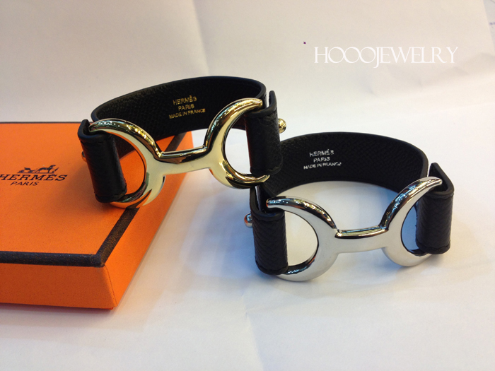 Hermes Pavane bracelet Black with gold & silver plated