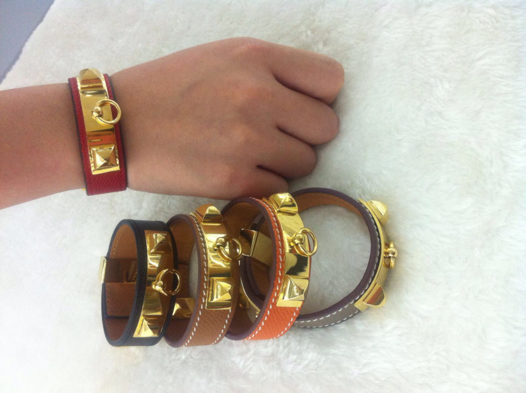 Hermes Collier de Chien 24 bracelet black, red, orange, gery, coffee with gold plated hardware