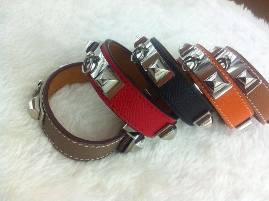 Hermes CDC Collier de Chien 24 bracelet black, red, orange, gery, coffee with silver plated hardware