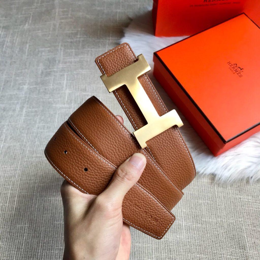 Hermes H belt buckle gold tan reversible leather strap 32mm