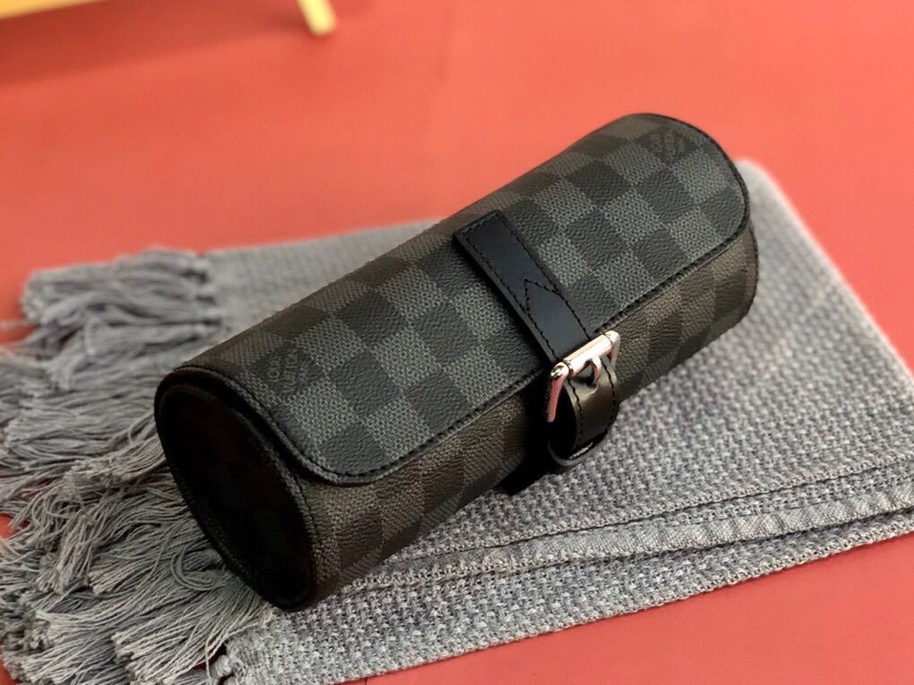 Louis Vuitton 3 Watch Case Damier Graphite Canvas N41137