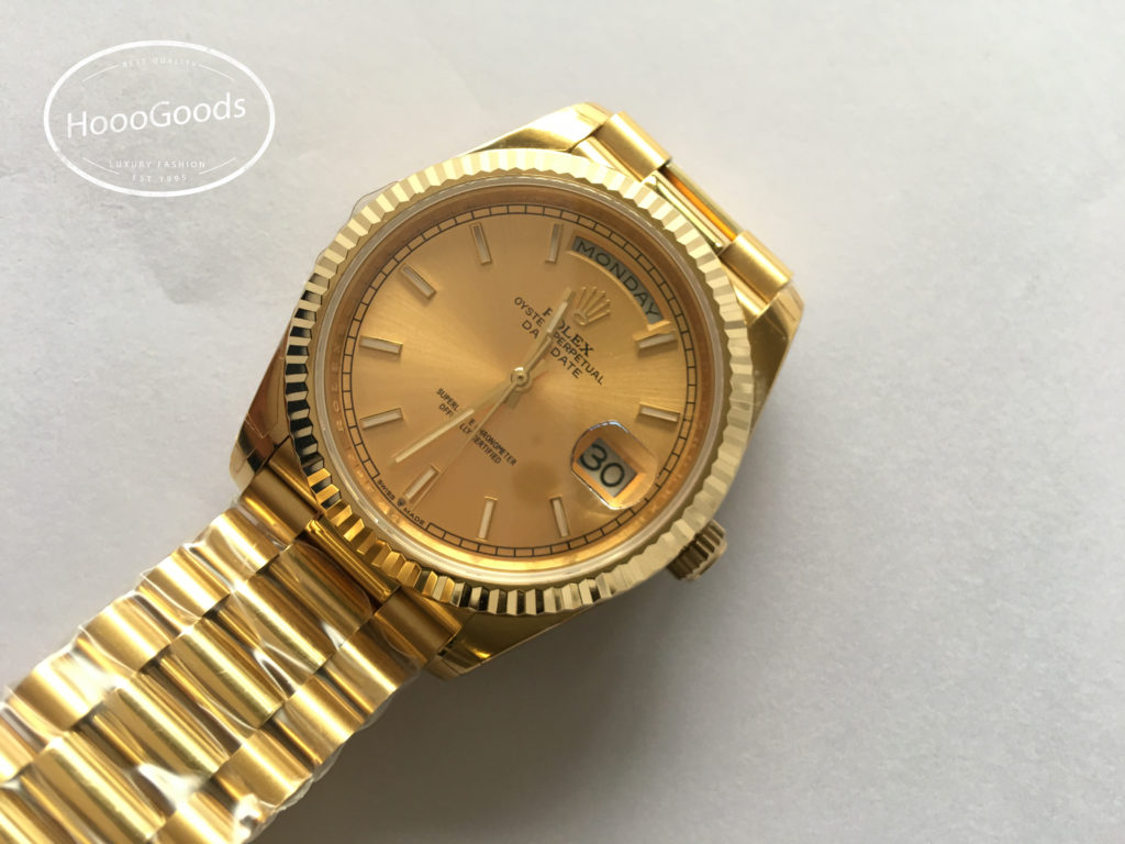 Rolex DAY-DATE 40 Yellow Gold Champagne Dial Oyster Perpetual Classic Watch