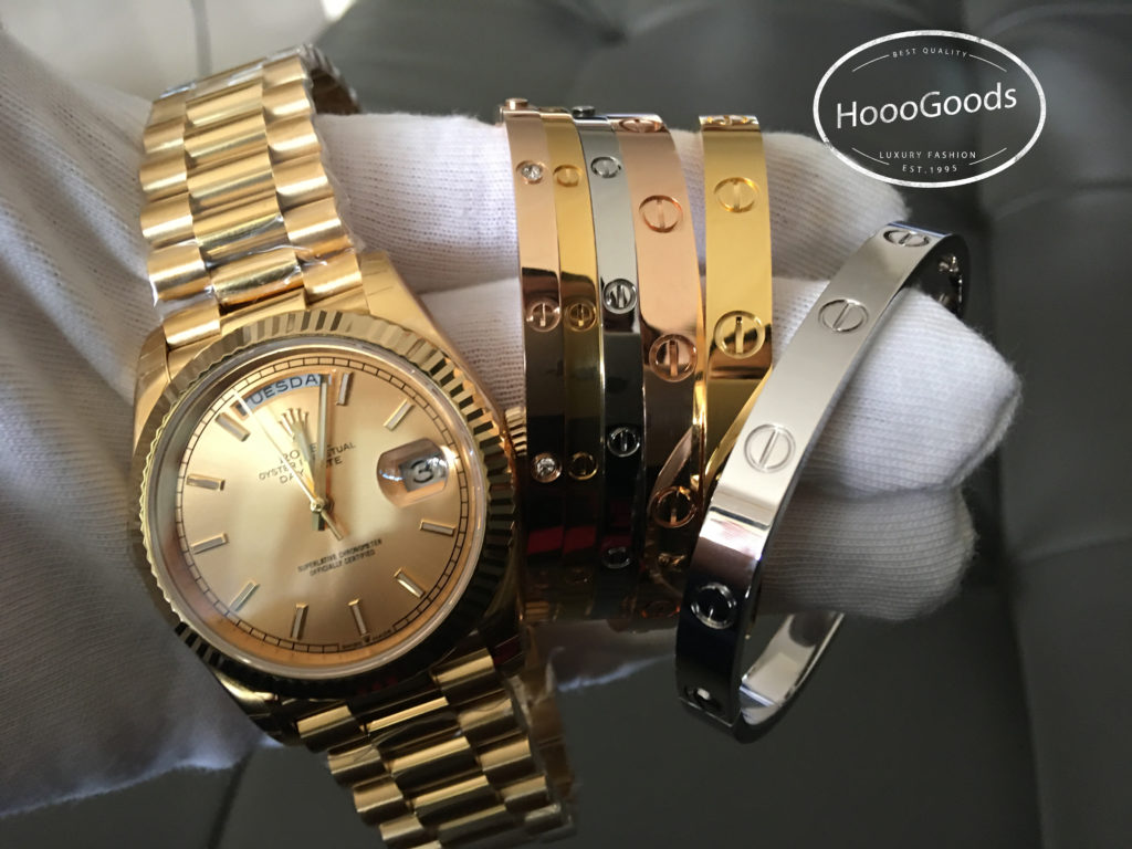 Stacking Cartier love Bracelets with Rolex DAY-DATE 40 Yellow Gold Champagne Dial Watch