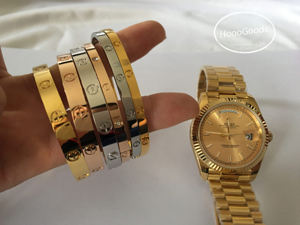 Rolex DAY-DATE 39 Yellow Gold and Cartier love Bracelet