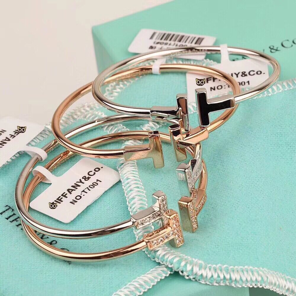 Tiffany T Wire Bracelet with diamonds and no diamonds in White Gold, Yellow Gold & Rose Gold