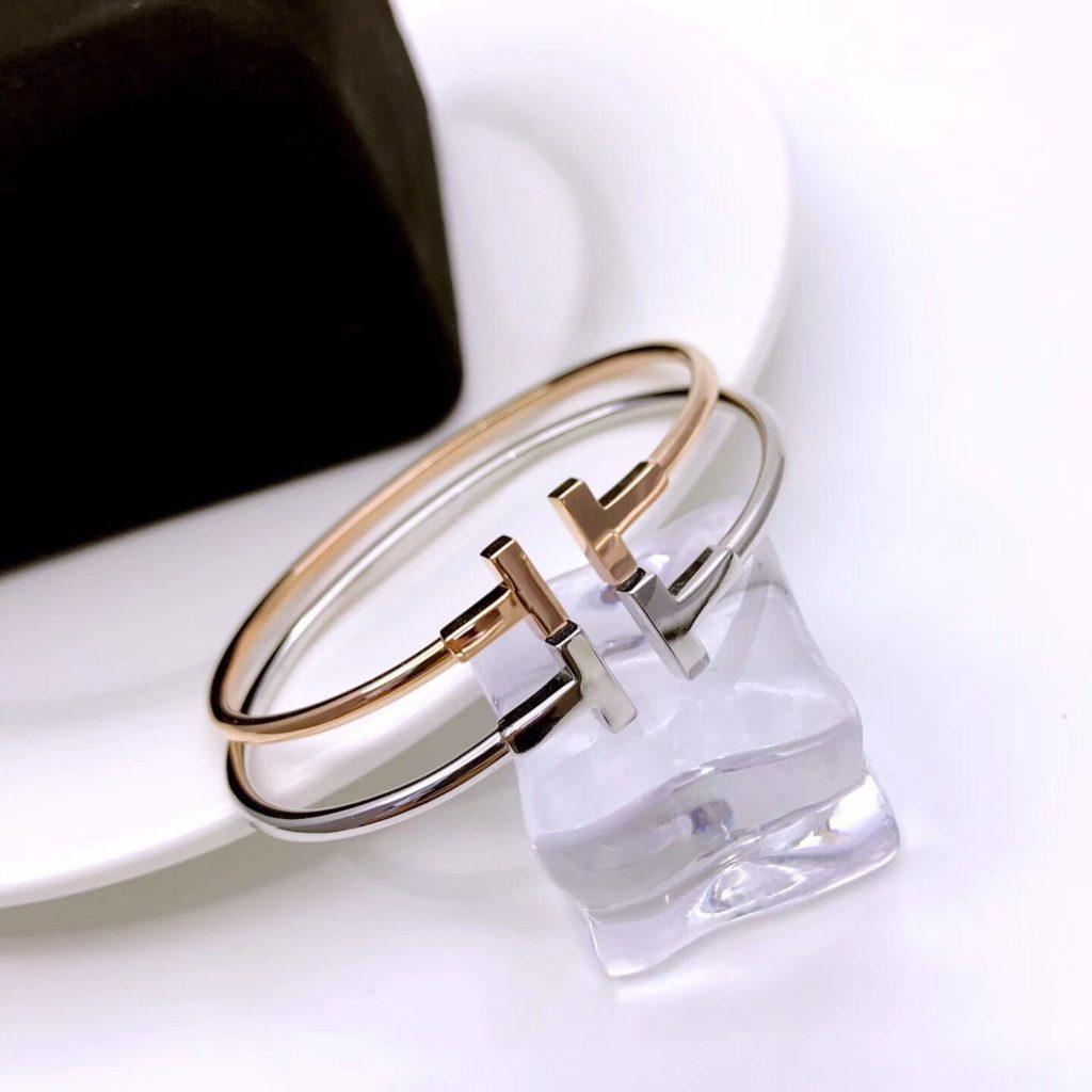 Tiffany T Wire Bracelet White Gold & Rose Gold