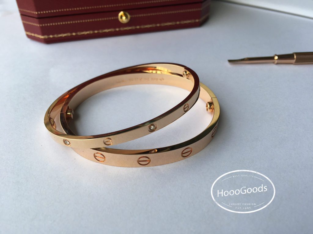 Yellow Gold Cartier love Bracelet Dupe Thin vs Thick