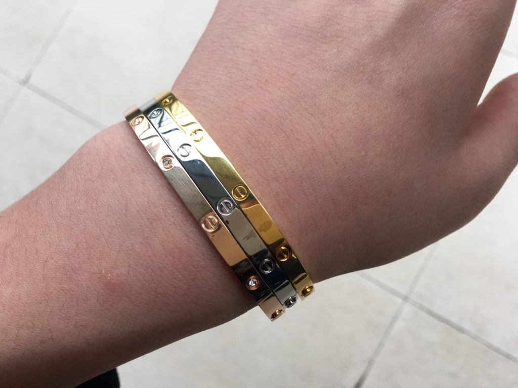 Cartier Love Bracelet Second Hand Yellow Gold, White Gold and Rose Gold
