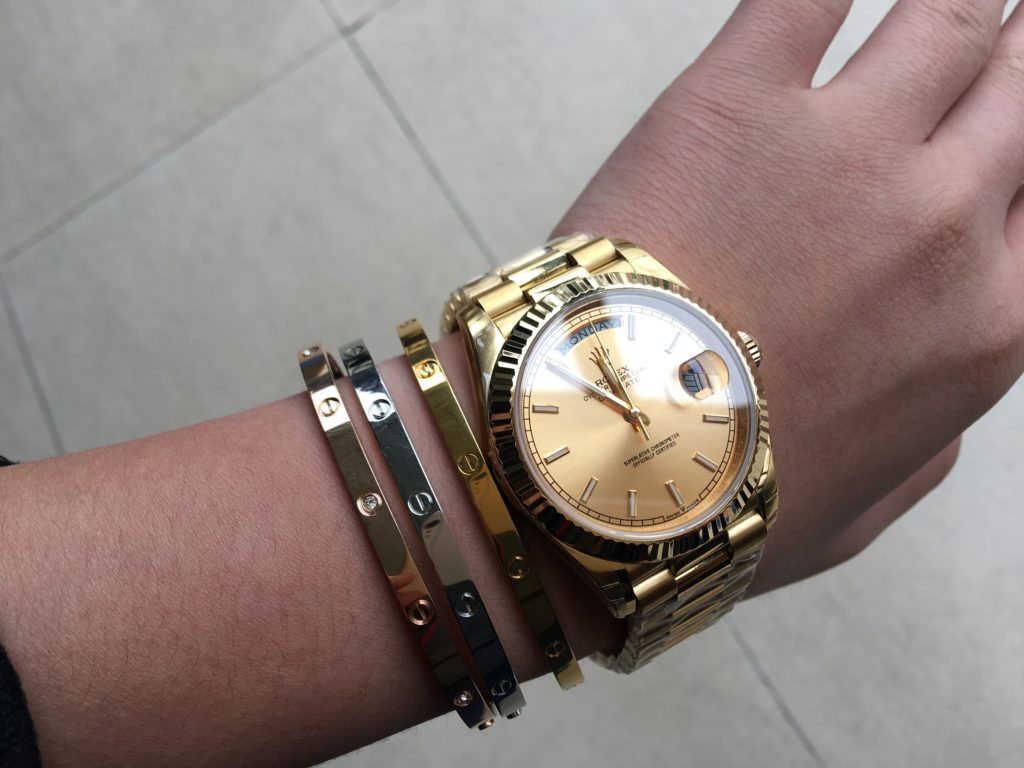 My Second Hand Cartier Love Bracelets and Rolex Watch DAY-DATE 40 Yellow Gold Champagne Dial Oyster Perpetual