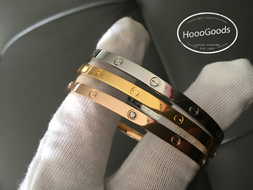 Cartier Thin Love Bracelet in yellow gold, white gold, pink gold