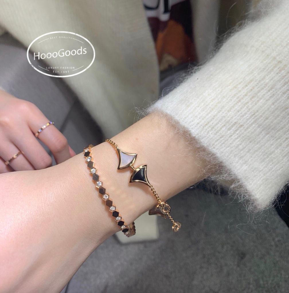 Stacked Chaumet Bee My Love bracelet