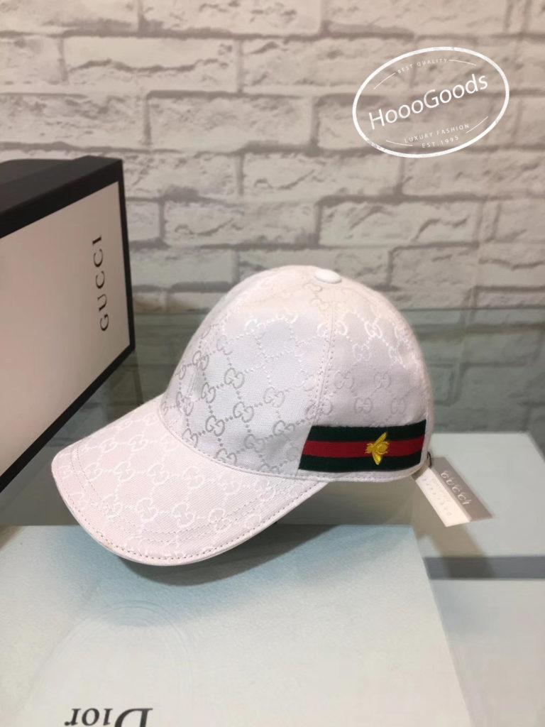 White Gucci Original GG canvas baseball hat with Web