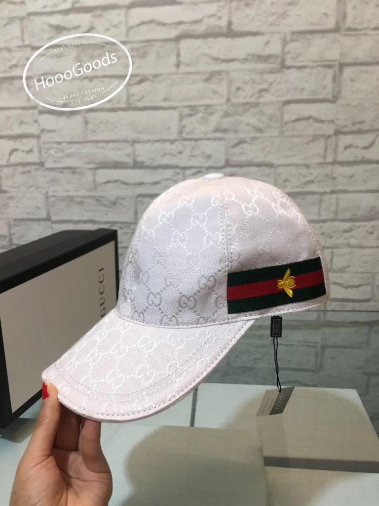 White Gucci Original GG canvas baseball cap with Web