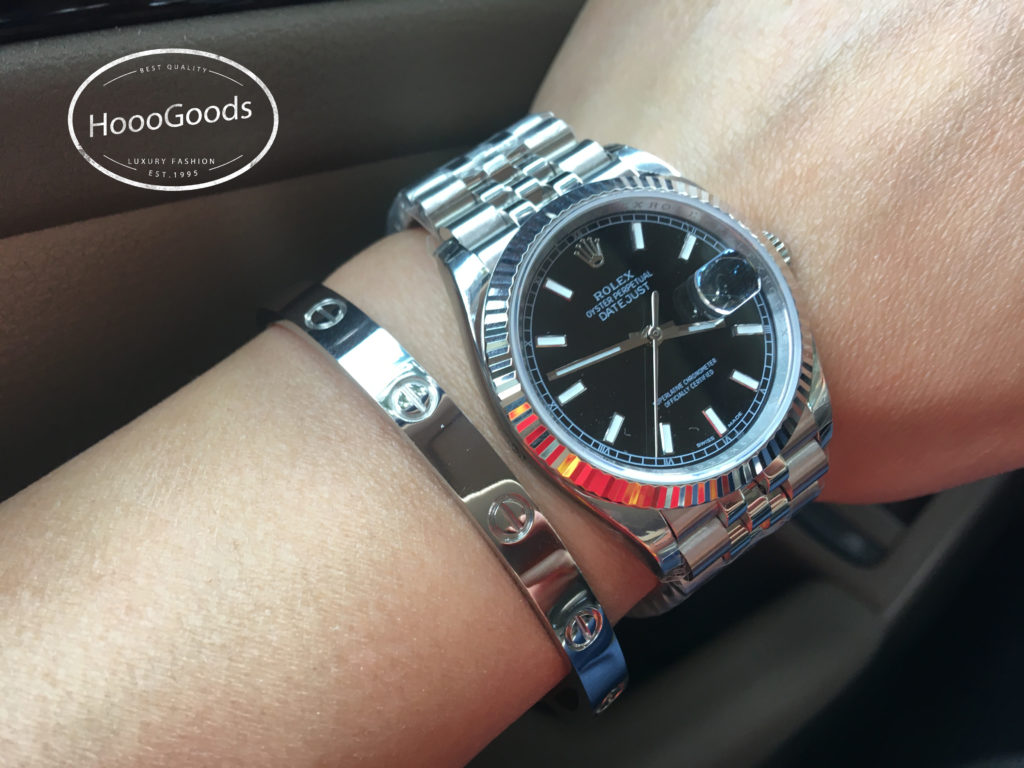 Rolex DAY-DATE 36 Watch White Gold Black Dial Oyster Perpetual and Cartier love bracelet