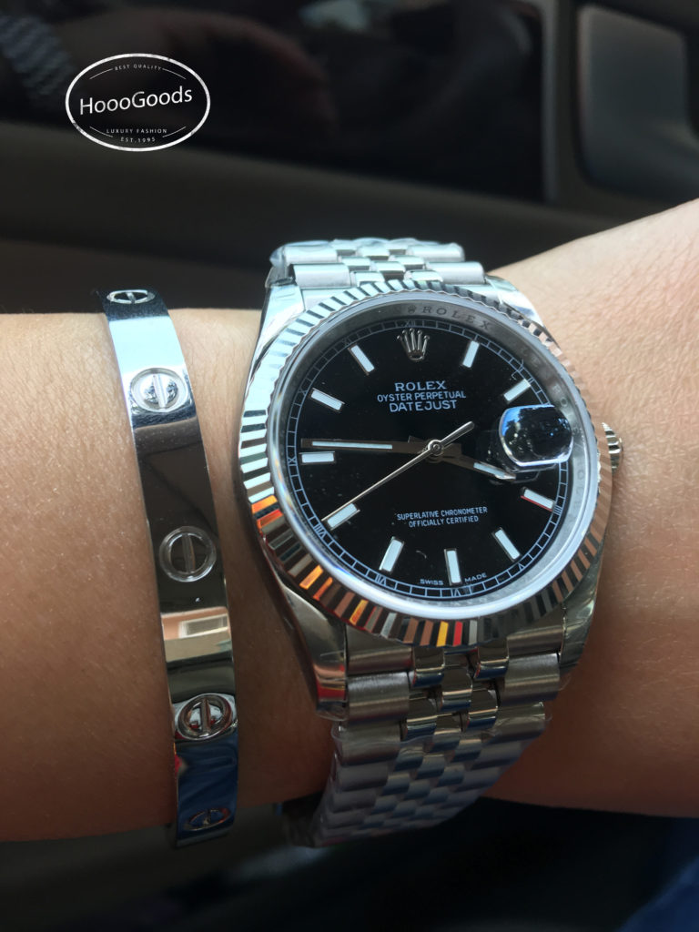 Stacking ideas: Rolex DAY-DATE 36 Watch and Cartier love bracelet