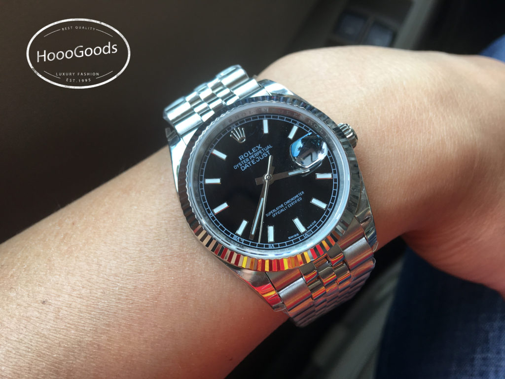 Rolex DAY-DATE 36 for Women Silver Black Dial