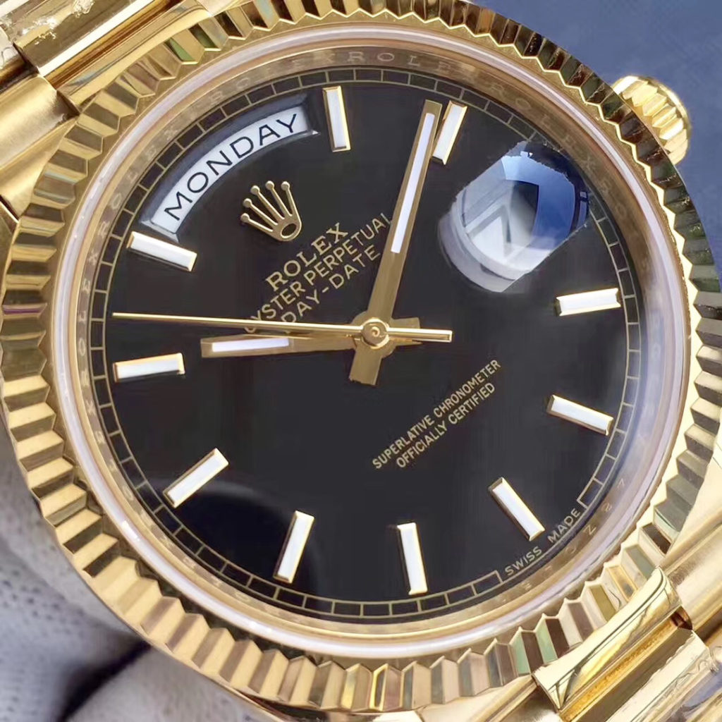 Rolex Day-Date 40 Watch Yellow Gold Black dial