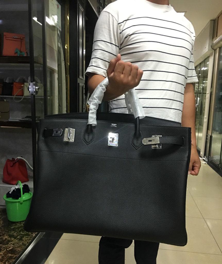 Hermes birkin 50 black togo with silver hardware