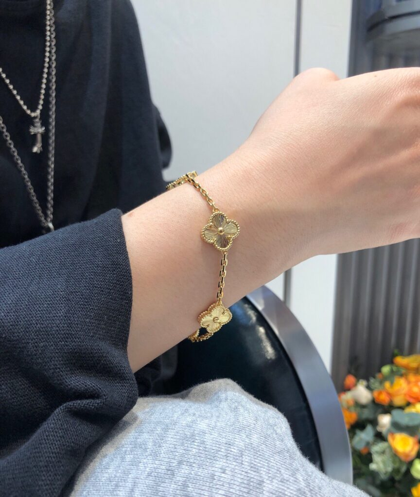 VCA Vintage Alhambra bracelet, 5 motifs, guilloché yellow gold