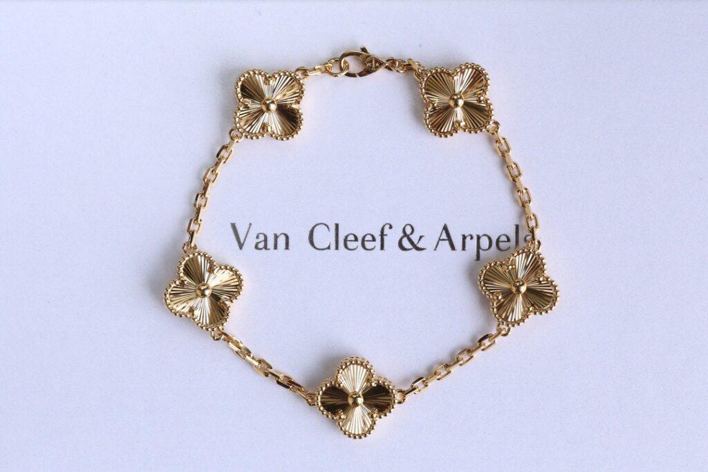 Van Cleef alhambra bracelet, 5 motifs, yellow gold
