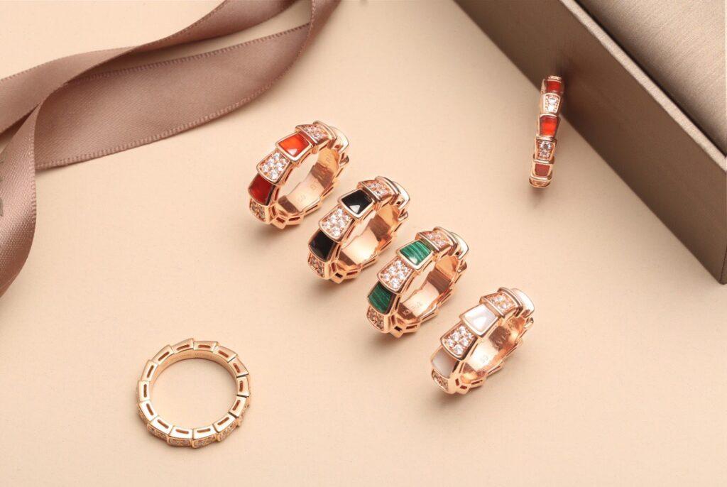 Thin and Thick Bvlgari Serpenti Viper ring set pavé diamonds