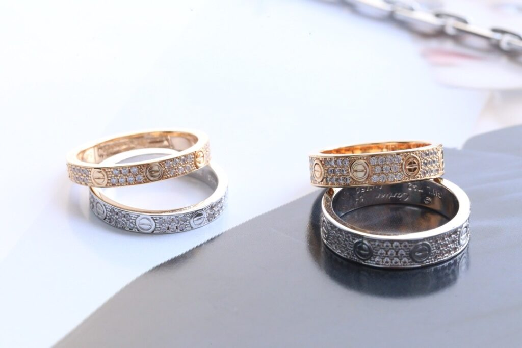Cartier Love Ring Pave Diamonds. Thin VS Thick. Yellow, White and Pink Gold