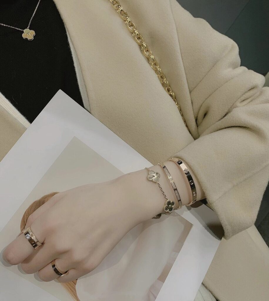 Stack Cartier Love Ring Pave Diamonds and bracelet