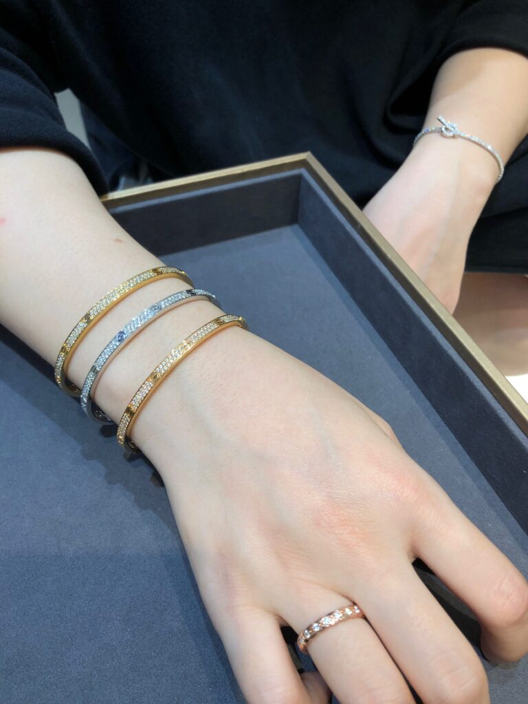 Cartier Love Bracelet Small/Thin Diamond Paved White, Yellow And Pink Gold