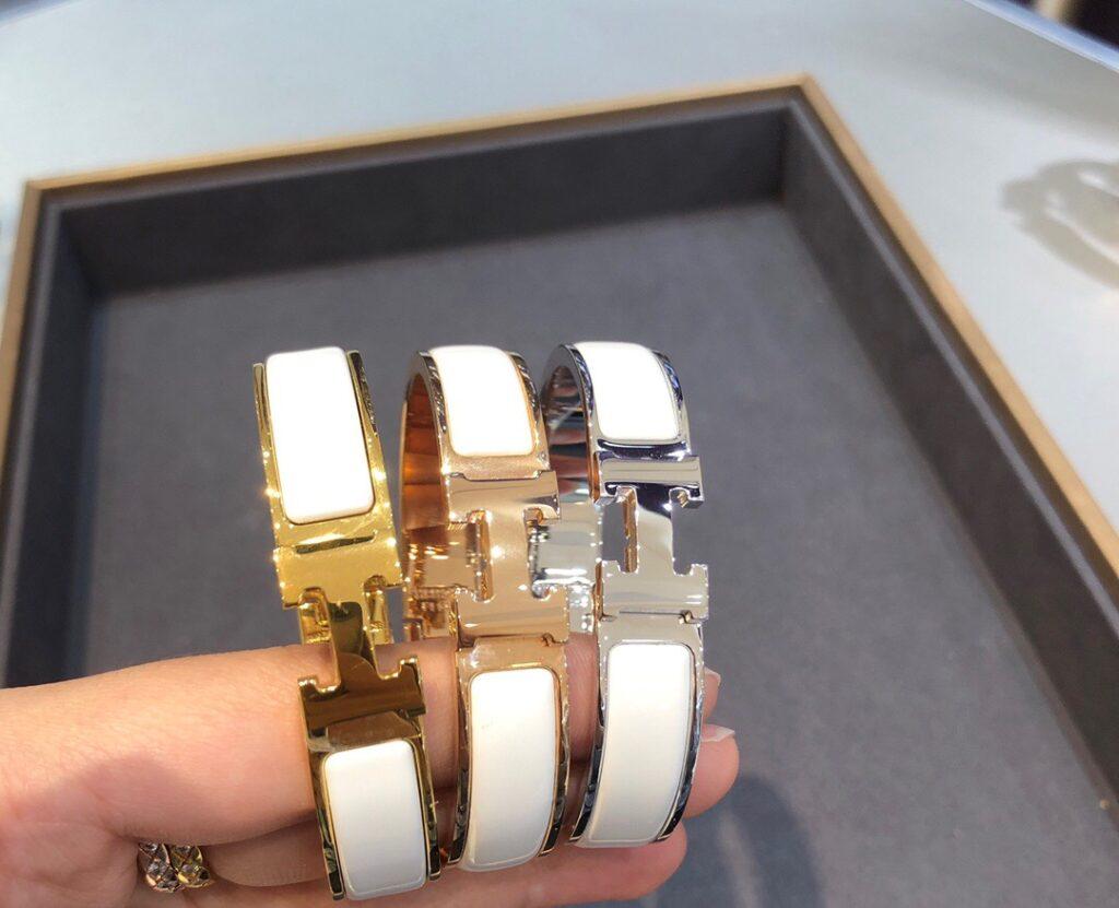 Hermes Clic H bracelet Narrow bracelet white