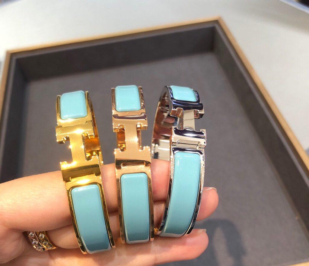Hermes Clic H bracelet Narrow bracelet in White black blue orange gray red ...enamel