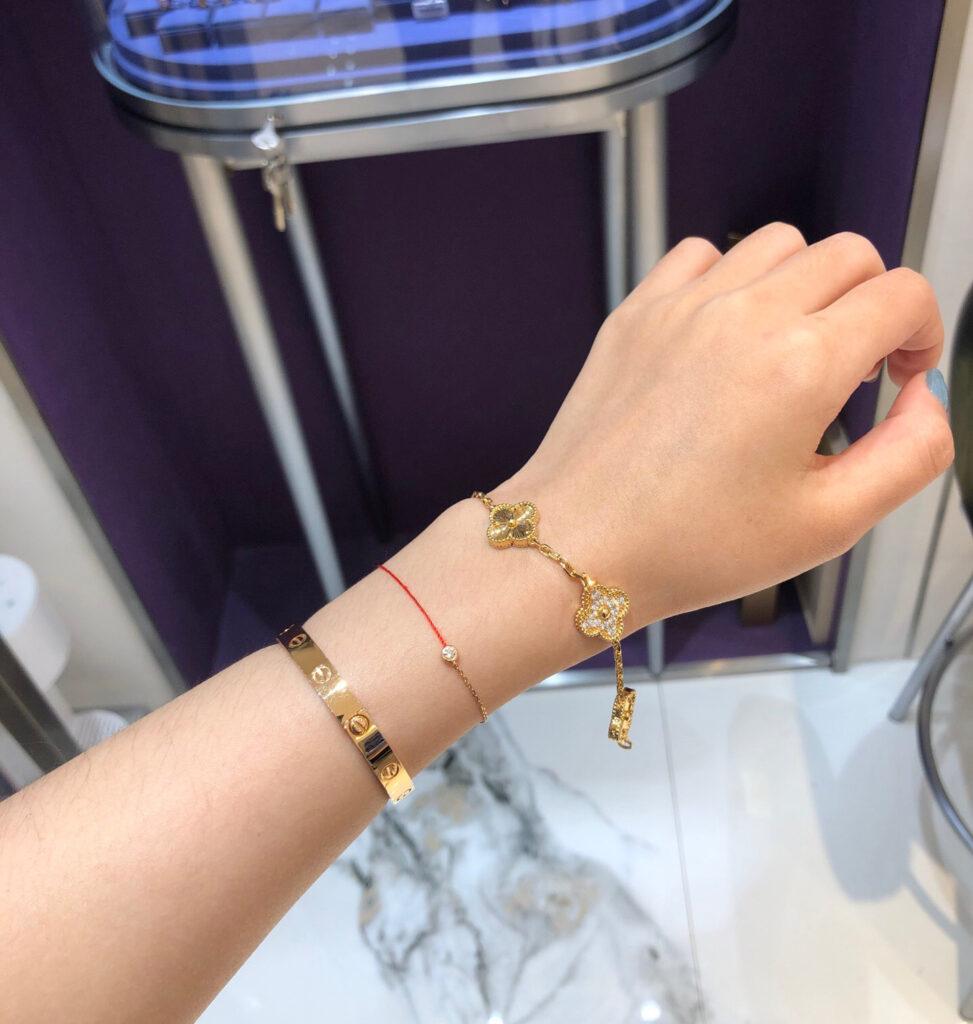 VCA alhambra bracelet stack Cartier love bracelet