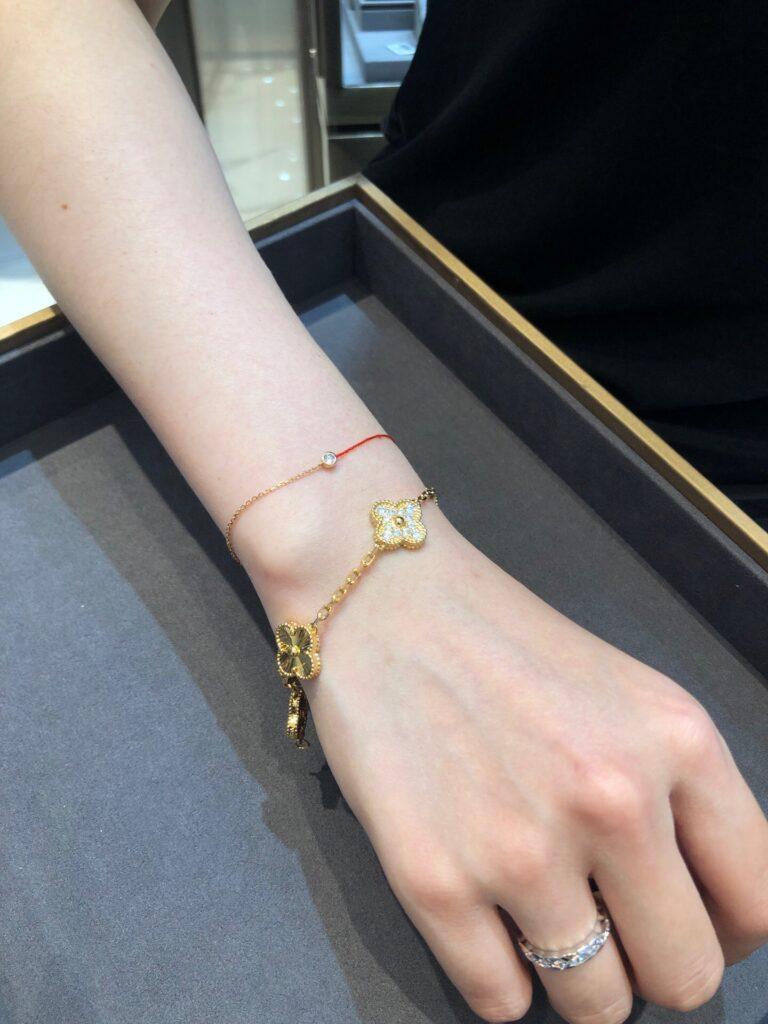 Van Cleef Alhambra bracelet 5 motifs Yellow gold Diamond