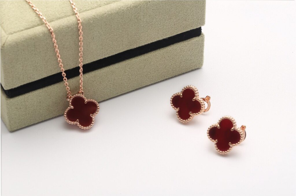 VCA Vintage Alhambra necklace and earrings rose gold.  Carnelian