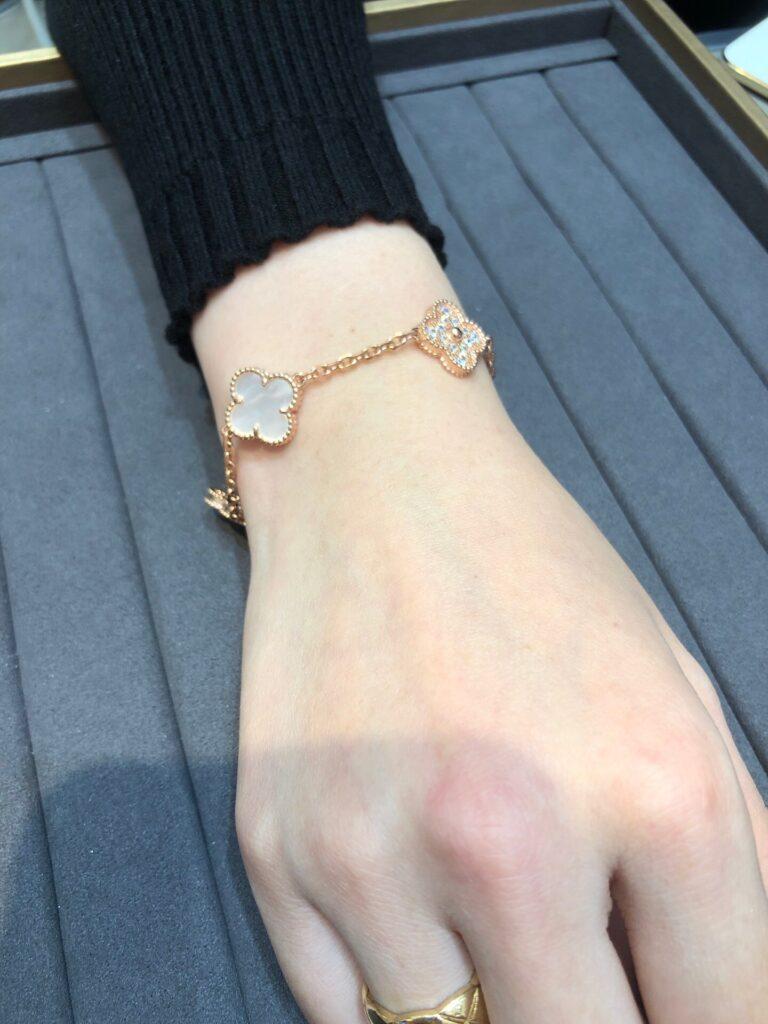 Pink gold, Mother-of-pearl. VCA Vintage Alhambra bracelet, 5 motifs