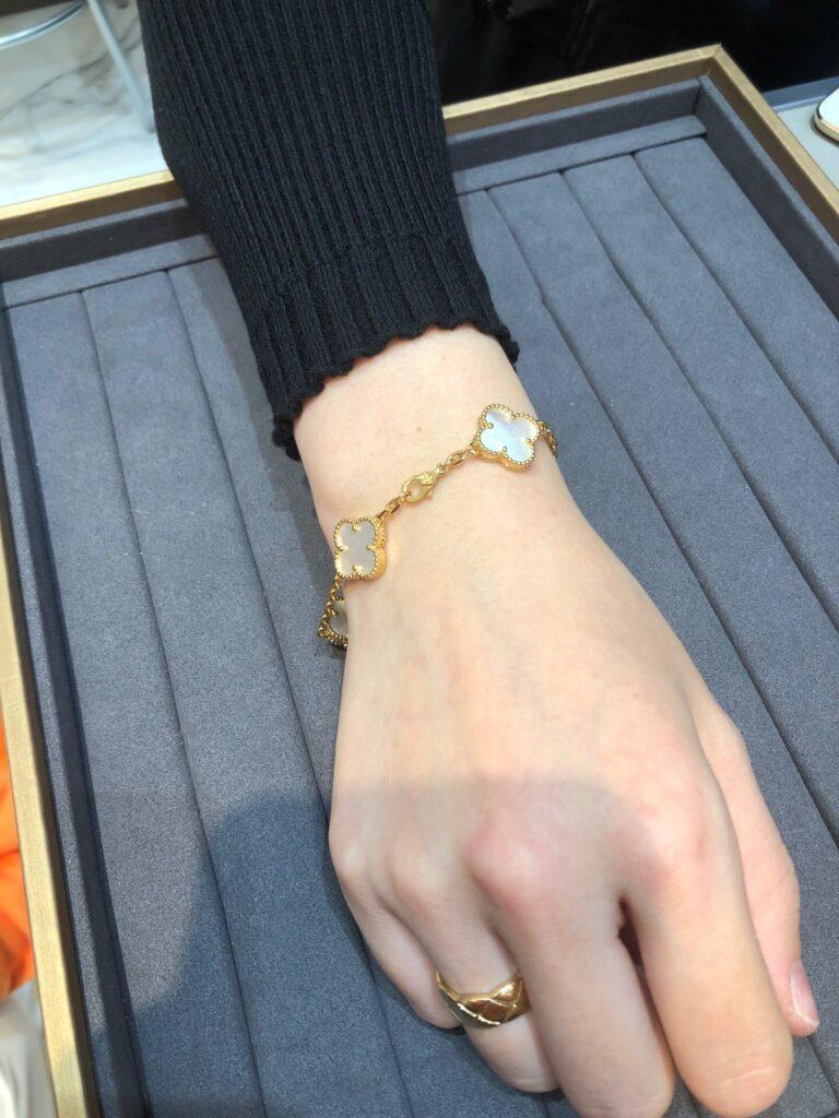 Yellow gold, Mother-of-pearl. Vintage VCA Alhambra bracelet, 5 motifs