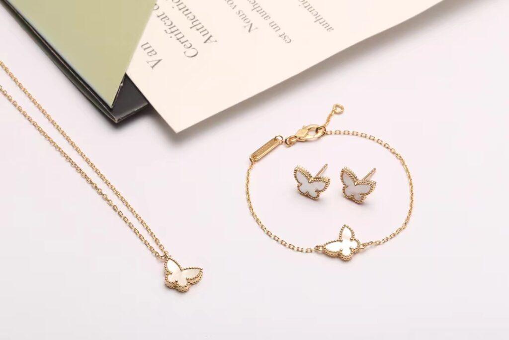 Van Cleef Sweet Alhambra butterfly bracelet, pendant and earrings white mother-of-pearl