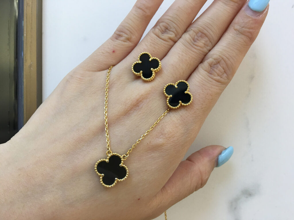 Van Cleef Alhambra earrings and necklace
