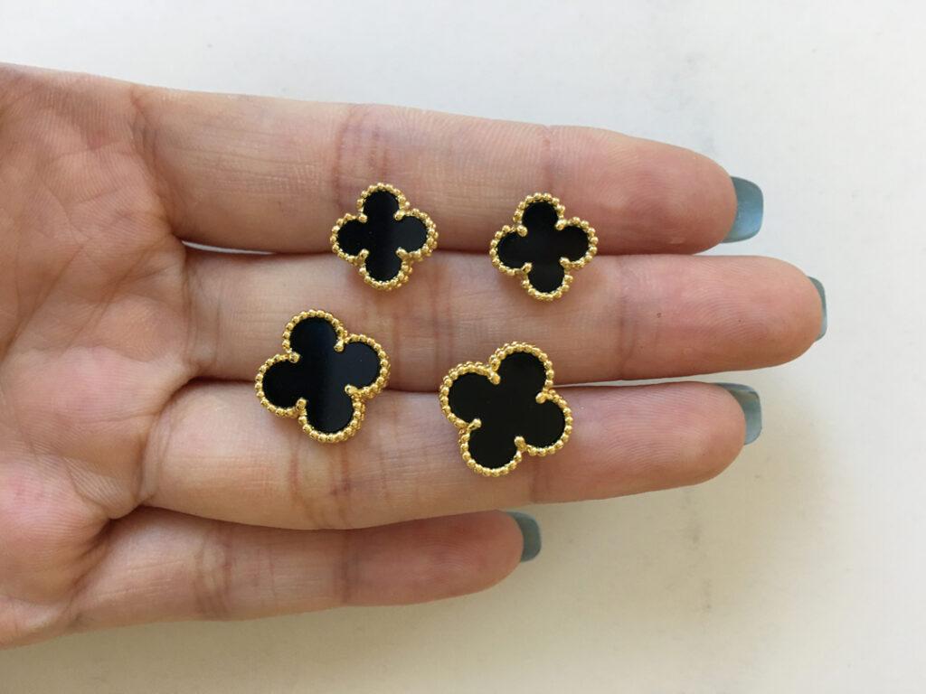 Van Cleef mini earrings and vintage alhambra earrings black onyx