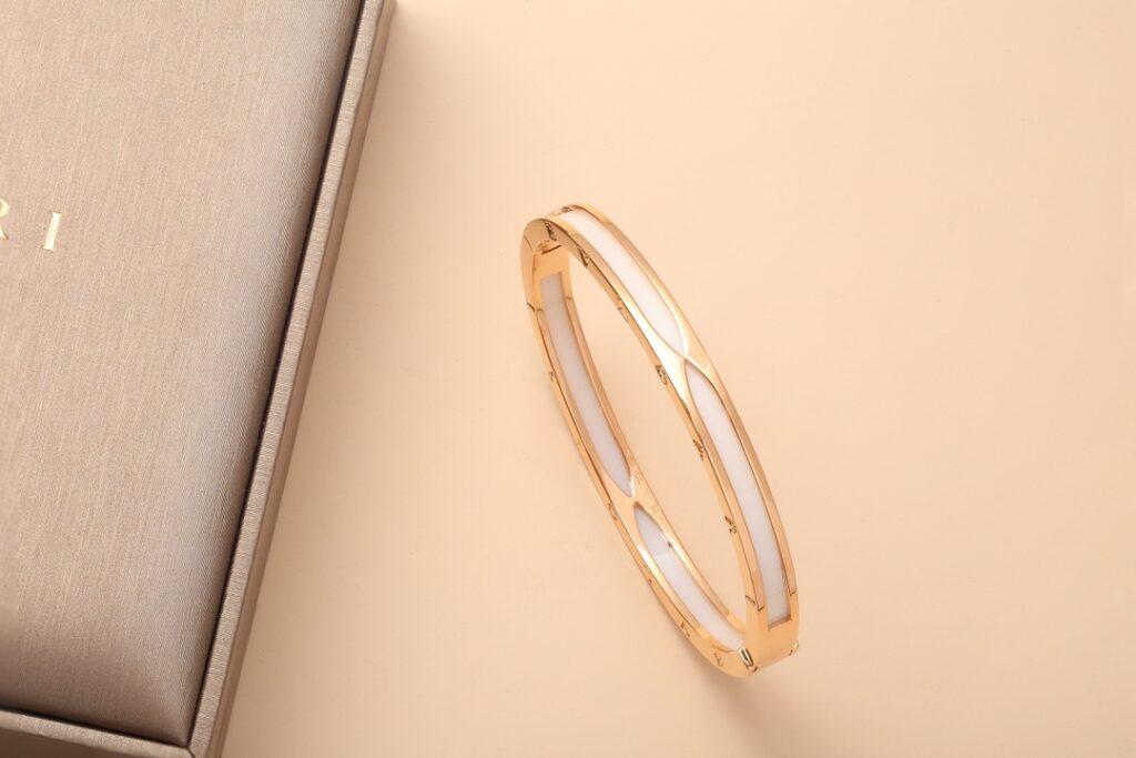 BVLGARI B.zero1 bangle bracelet rose gold with white ceramic