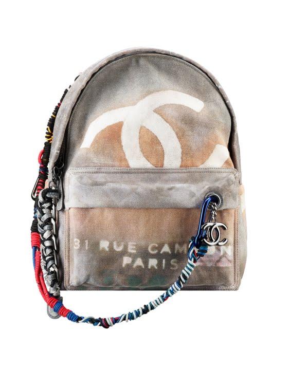Grey Chanel Graffiti printed canvas backpack