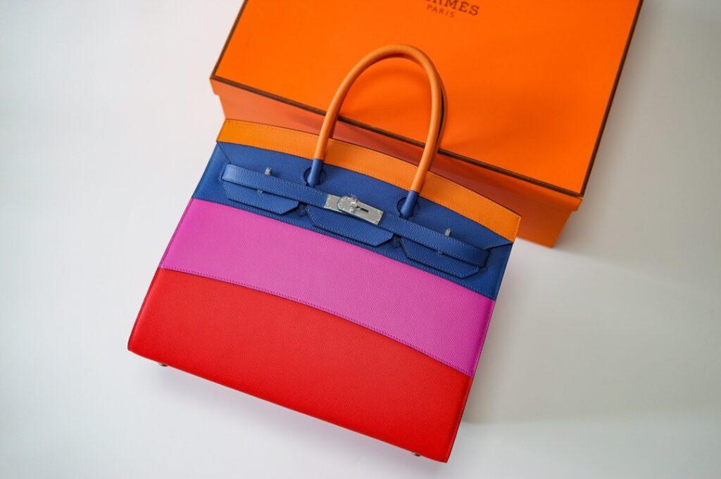 HERMES Sellier Birkin 35cm Sunset Rainbow Bag Epsom Palladium Hardware
